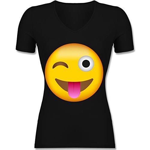 Shirtracer Comic Shirts - Emoji Herausgestreckte Zunge - Tailliertes T-Shirt mit V-Ausschnitt für Frauen Schwarz