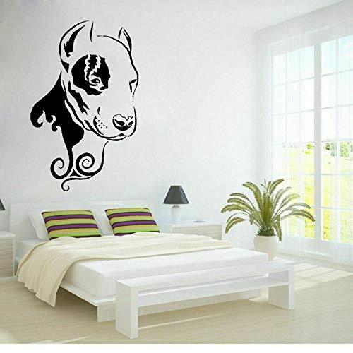 WandaufkleberLustige Pitbull Hund Gesicht Tier Pvc Wandaufkleber Abziehbilder Für Schlafzimmer 53,6 Cm * 85 Cm