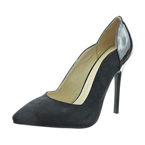 sopily-chaussure-mode-escarpin-stiletto-bi-matiere-hauteur-cheville-femmes-verni-brillant-talon-haut