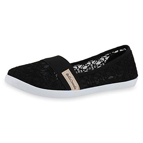 SCARPE VITA Sportliche Damen Ballerinas Slipper Spitze Stickereien Schuhe 160624 Schwarz Spitze 39