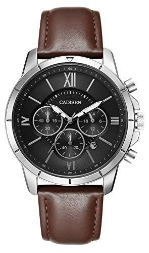 CADISEN Herren Armbanduhr Chronograph Wasserdicht Kalender Quarz mit Lederarmband Braun