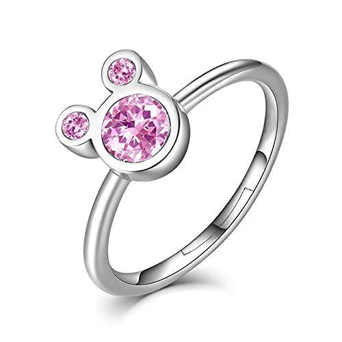 24 JOYAS Ring Mickey Mouse rosa verstellbar Sterlingsilber 925 und Zirkonia rosa 5A für Mädchen, Mädchen, Mädchen, Frauen, Geburtstag, Jubiläum oder Romantisches Geschenk