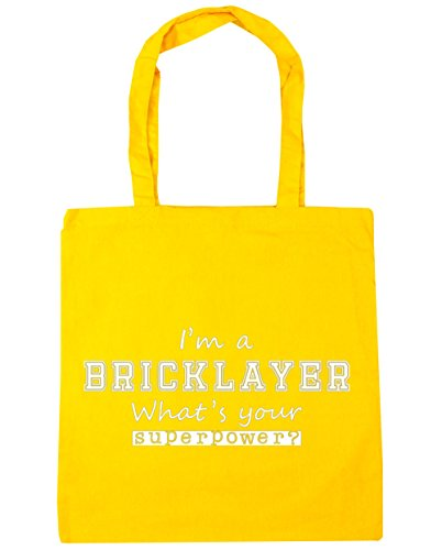 HippoWarehouse I'm a Bricklayer What's Your Superpower? Tote Shopping Gym Beach Bag 42cm x38cm, 10 litres