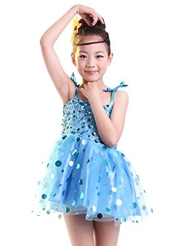 BOZEVON Kinder Mädchen Jazz Moderne Tanz kostüm Performance Kleid Dancewear Tütü Röcke Tanzkleid Partykleid, Blau, EU XL=Tag 2XL (Jazz Tanz Kostüme Für Mädchen)