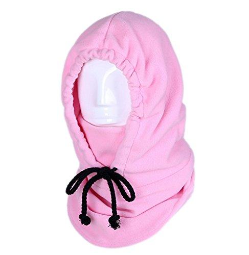 ACVIP Adulte Homme Femme Chapeau Anti Vent Masque Visage Cagoule Chaud Oreille Protection, 10 Couleurs Rose Claire