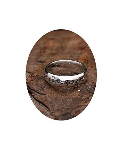 Anyeda herrenringe Damast Ring Messgerät Wosix Word Mantra Memoiren Ring Größe 54 (17.2)