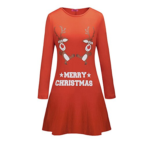 TUDUZ Damen Weihnachten Langarm Kleid Brief Gedruckt Santa Abendkleid Xmas Festlich Swing Kleid...