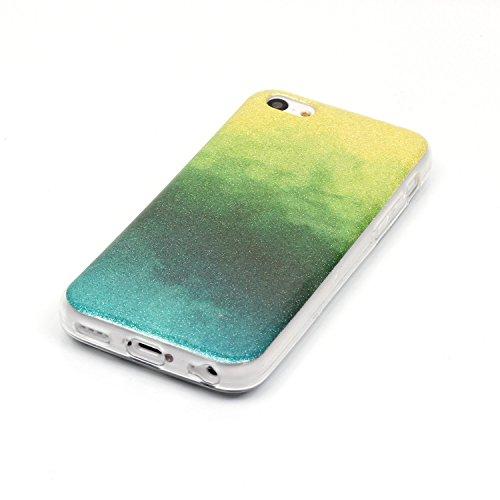 iPhone 5C Hülle Weiches Silikon Glitzer Schutzhülle Tasche Case,iPhone 5C Hochwertig Leicht Gummi Schutz Hoch Handyhüllen Schale Etui,Herzzer Modisch Luxus Silikon Bunt Hülle [Farbverlauf Gradient Far Gelb und Grün