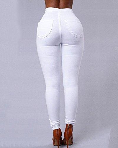 Donne Jeans Pantaloni Elastico Vita Alta Casuale Jeans Skinny Leggings Denim Bianco