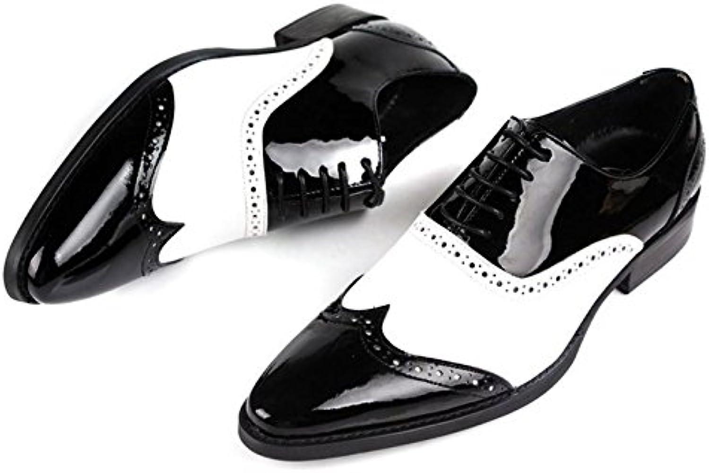 LHLWDGG.K Zapatos De Boda De Cuero De Los Zapatos De Los Hombres De Blanco Y Negro/Oxford Zapatos De Los Hombres...