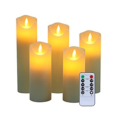 "LED candles,Flameless Candles 5""6""7""8""9"" Real Wax Battery Candle Pillars, Realistic Dancing Mood Candles and 10 Key Remote Control with 24 Hour Timer Function Yiwei(Ivory,5) by HW"