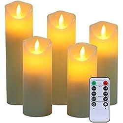 Sin llama velas de cera real, no plástico pilares, realista Led Dancing Mood velas y 10Key mando a distancia con temporizador de 24horas función yiwei... (marfil), 5