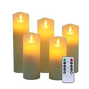"""Candele Flameless 5 """"6"""" 7 """"8"""" 9 """"Set di 5 celle reali non in plastica comprendono fiamme realistiche di ballo LED e telecomando a 10 tasti con 2/4/6/8 ore Funzione di timer 200 ore-YIWER (5x1, Avorio)"""