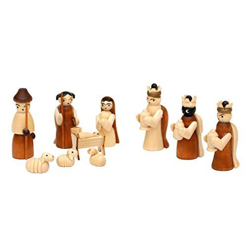 Dekohelden24 Holz Krippenfiguren als 10er Set, Maße L/B/H: 1,7 x 2,8 x 5 cm.