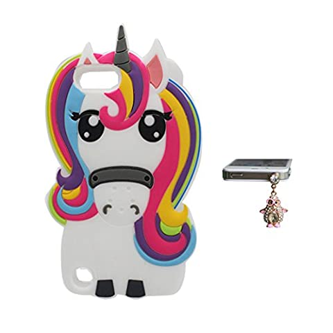 Coque iPod Touch 5 , iPod Touch 5 étui, Flexible TPU Nouveau design Cartoon Case Cover - ( 3D Licorne cheval unicorn ) shell + Bouchon anti-poussière