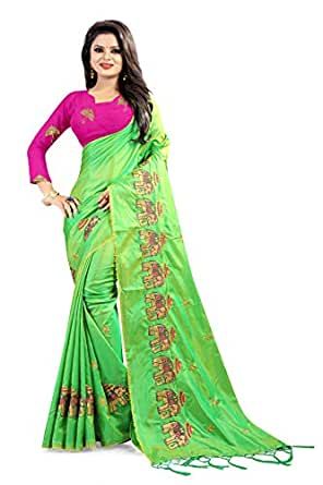 EyesOnMe Women's Paper Silk Saree With Blouse Piece (green)