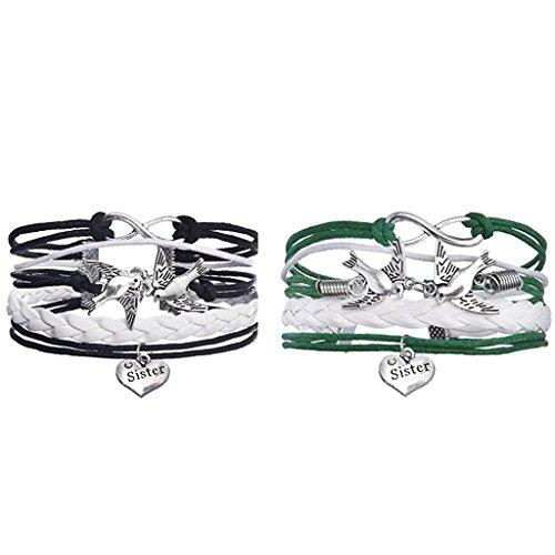 Jiayiqi Femmes Oiseaux Mini Infini Amour Soeur Gourmette Multicouches De Charme Corde Bracelet 2 Pièces