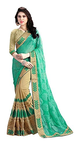 Nivah Fashion Women's Brasso & Georgette Half N Half Embroidery Work With...