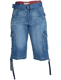 Waooh - Bermuda En Jeans A Lacets Et Ceinture Coupe Cargo Robby