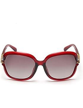 HONEY Gafas de sol polarizadas de las mujeres con estilo - diseño ahuecado, material TR90 ( Color : Red frame )