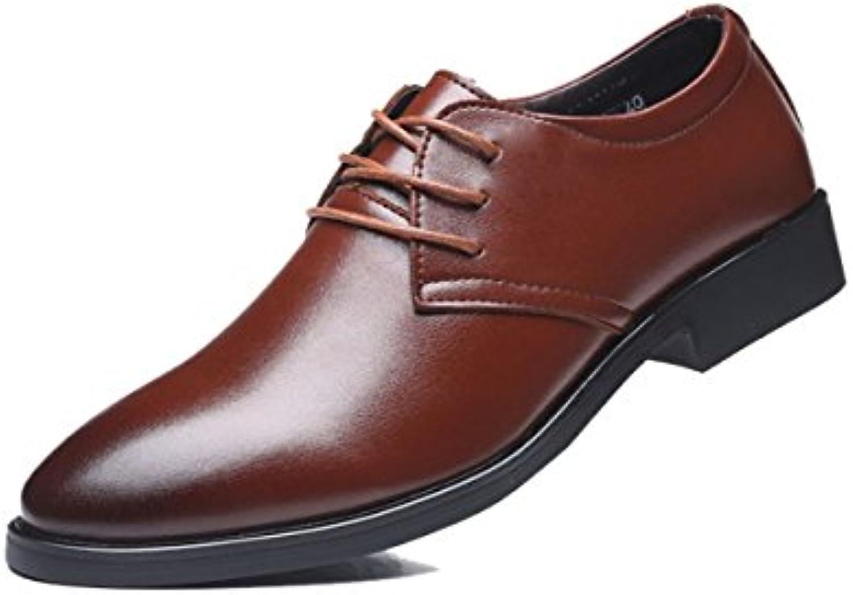 LYZGF Moda Casual De Negocios De Primavera Y Otoño Para Hombres Con Zapatos Puntiagudos Puntiagudos,Brown-39  -