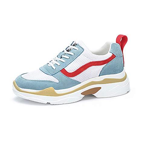 Chaussures De Sport pour Femmes Printemps Et Automne Femme Chaussures Plusieurs Couleurs Disponibles (Couleur : Blue+White+Red, Taille : 35)
