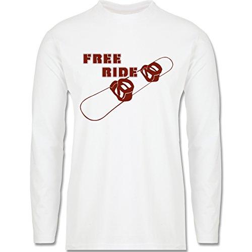 Wintersport - Snowboard - Free Ride - Longsleeve / langärmeliges T-Shirt für Herren Weiß