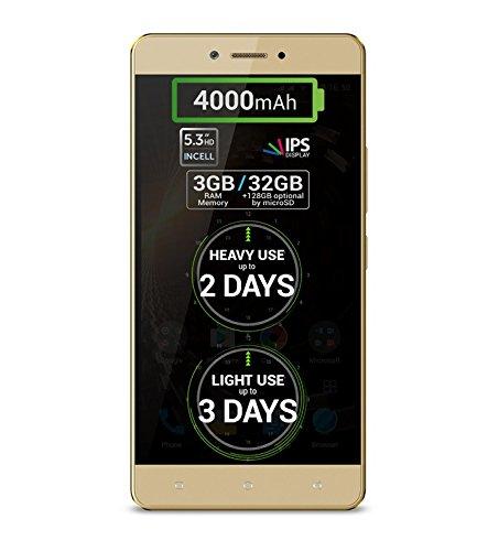Allview P9 Energy Lite Golden - LTE Dual SIM Smartphone, 4,000 mAh SDI Akku, Octa Core, 3GB RAM, 32GB Flash, 13Mpx Hauptkamera