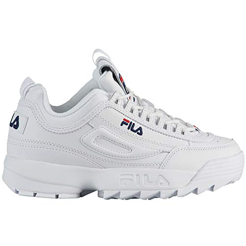 Fila Youth Disruptor II Leather White Peacoat Red Trainer 39 EU