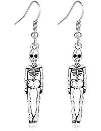 eb5987cfa89a JINQD Home Celebración del Festival de Halloween Modelo Esqueleto  Pendientes Retro Tridimensional Colgante Hombres Mujeres Joyas de…