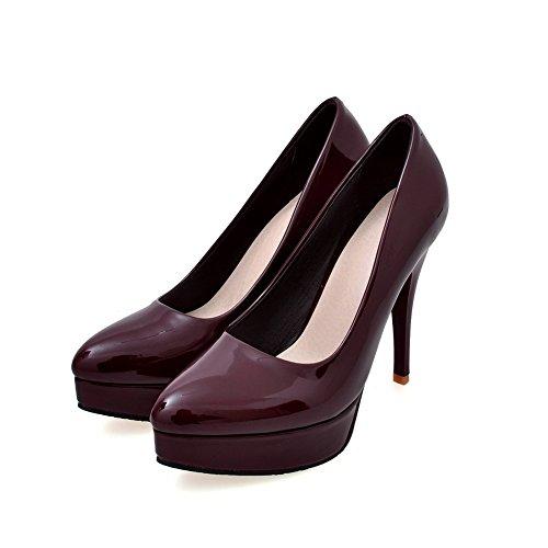 AgooLar Femme Pointu Tire Pu Cuir Couleur Unie Stylet Chaussures Légeres Rouge Vineux