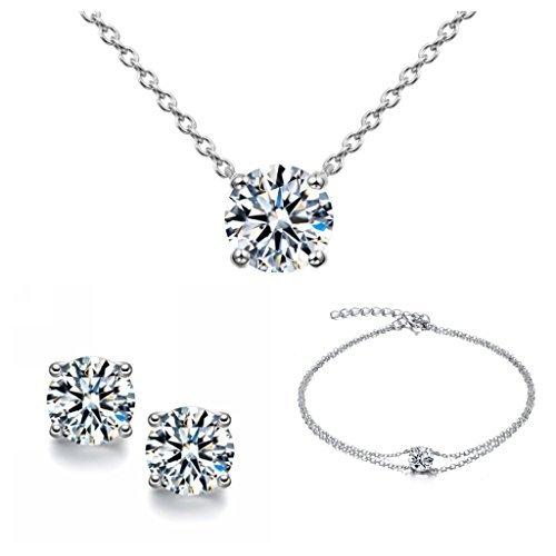 Parure classique pour femme composée d'un bracelet, de boucles d'oreilles et d'un collier en argent 925 ornés d'un solitaire - livrée dans un coffret cadeau Sreema London