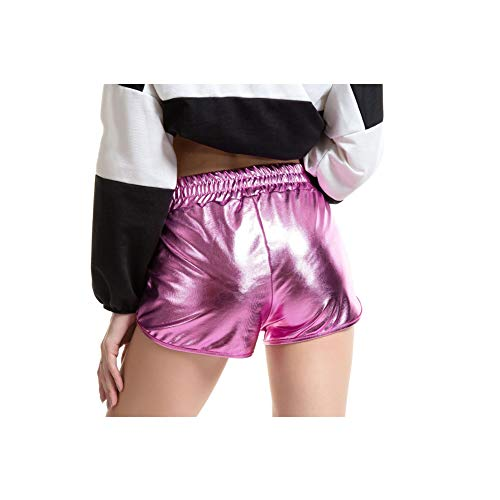 Harddo Women's Leather Shorts, Leather Loose Style Hot Boxer Shorts, Shiny Wetlook Leather Mini Shorts Dance Fitness Sports Hot Pants Shorts -
