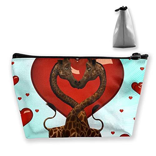 Kosmetiktasche Kosmetische Giraffe Love Red Mobile Trapezoid Tragbare Reise Kosmetiktasche Red Mobile