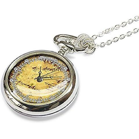 Il Signore degli Anelli mappa orologio da tasca–Mordor Mappa Orologio da tasca collana–orodruin Mappa Orologio da tasca collana–collana–Monte Fato Mappa Orologio da tasca regalo di nozze