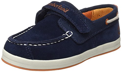 Timberland Unisex-Kinder Dover Bay H&L Boatblack Bootsschuhe, Blau  (Black Iris Suede with Orange), 29 EU