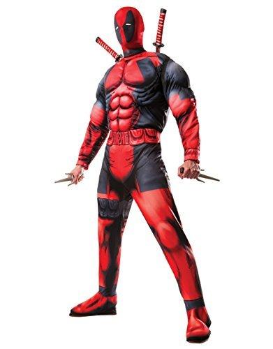 Deadpool Kostüm Deluxe Muskel Overall mit Maske rot schwarz - L