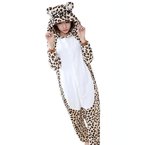 DEHANG - Pyjamas Grenouillère Cosplay Costume Onesie en Flanelle Adult Unisexe Animal Femme Homme – Léopard Ours – Taille S