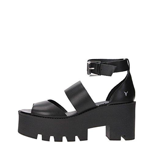 Sandales Windsor Smith Puffy en cuir noir Noir