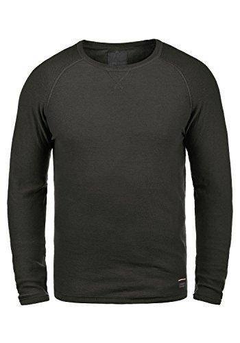 PRODUKT Helder Herren Longsleeve Langarmshirt Shirt Mit Rundhalskragen Feinstrick Aus 100% Baumwolle, Größe:L, Farbe:Black - Feinstrick-piqué