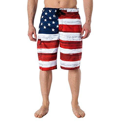 Herren Männer Shorts American Flag Print Unabhängigkeitstag inspiriert Board Denim Hosen GreatestPAK,Rot,L