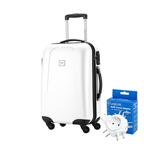 HAUPTSTADTKOFFER® 42 Liter Handgepäck · WEDDING · TSA · MATT · (in versch. Farben) + REISEADAPTER (Dunkelblau) Weiss