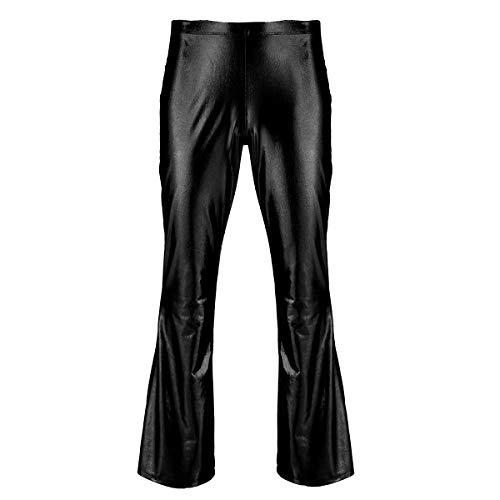 iiniim Herren Hosen Wetlook Schlaghose 70er Retro Kostüm Männer Lederhose Glänzende Hose Pants Leggings Tanz Clubwear M-XL Schwarz M