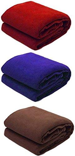 Goyal's Single Fleece Blanket Multicolor - Set Of 3