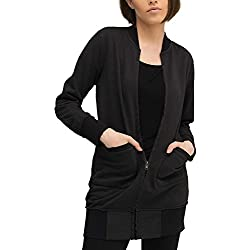 trueprodigy Casual Mujer Marca Sudadera Zip Basico Ropa Retro Vintage Rock Vestir Moda Cuello Redondo Manga Larga Slim fit Designer Cool Urban Fashion Jacket Chaqueta Sueter Color Negro
