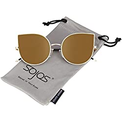 SOJOS Ojos de gato Mujer Gafas de sol Flat Lenses Ultra Thin Light Metal Frame Women Sunglasses SJ1022 With Dorado Lens