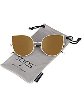 SOJOS Ojos de gato Mujer Gafas de sol Flat Lenses Ultra Thin Light Metal Frame Women Sunglasses SJ1022