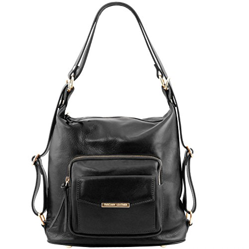 81415354 - TUSCANY LEATHER: TL BAG - Sac en cuir convertible en sac à dos, noir
