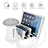 JASZHAO Quick Charge 3.0 Mushroom Table Lamp 5 Ports USB Charger mit Qualcomm QC 3.0 6.5V 9V 12V&AIPower Tech für iPhone/Samsung/Huaweik Sony/iPad