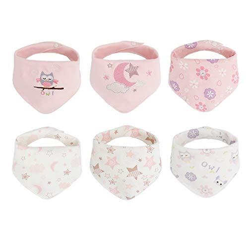 Baby Dreieckstuch Lätzchen 6er Mädchen Junge Spucktuch Baumwolle Halstücher mit süßen Motiven rosa Stern mond eule Doppellagig Saugfähig (0-36 Monate)